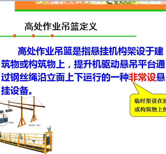 高处安全作业培训吊篮概述(ppt)