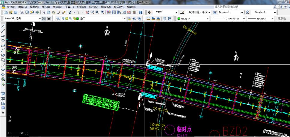 CADv图纸图纸及道路曲线段桥梁的路面715t2432电源2标高图片