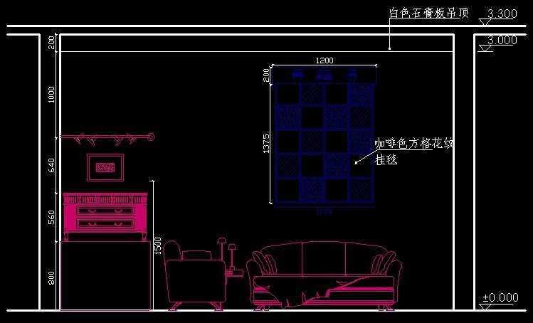 室内设计客厅立面图绘制轮廓线免费下载 - 建筑cad