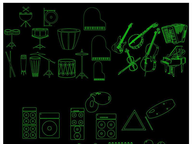 CAD乐器图块