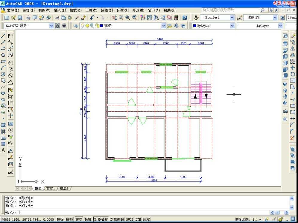 基本概述:autocad2008室内设计的绘制。这节为大家讲解一下常见户型建筑结构图设计的过程。 简要基本概述:第一步:新建图形文件打开文件选择新建,然后设置图形界限,选择格式下的图形界限命令,设置图层,打开正交捕捉绘制一条长为12400的水平辅助线。 第二步:绘制墙线。 第三步:设置多线命令,绘制内墙线。将其分解。 其他信息: 音频:有 练习文件:附有素材练习文件 时长:13分24秒 软件界面:中文