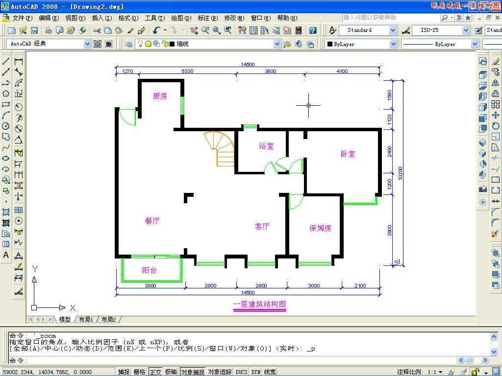 CAD2008绘制跃层建筑一层平面图免费下载-池布置图沉平面终cad图片