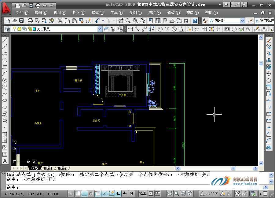 中式三居室绘制主卧室平面布置图教程免费下载 AutoCAD2009室内装潢设计实例教程