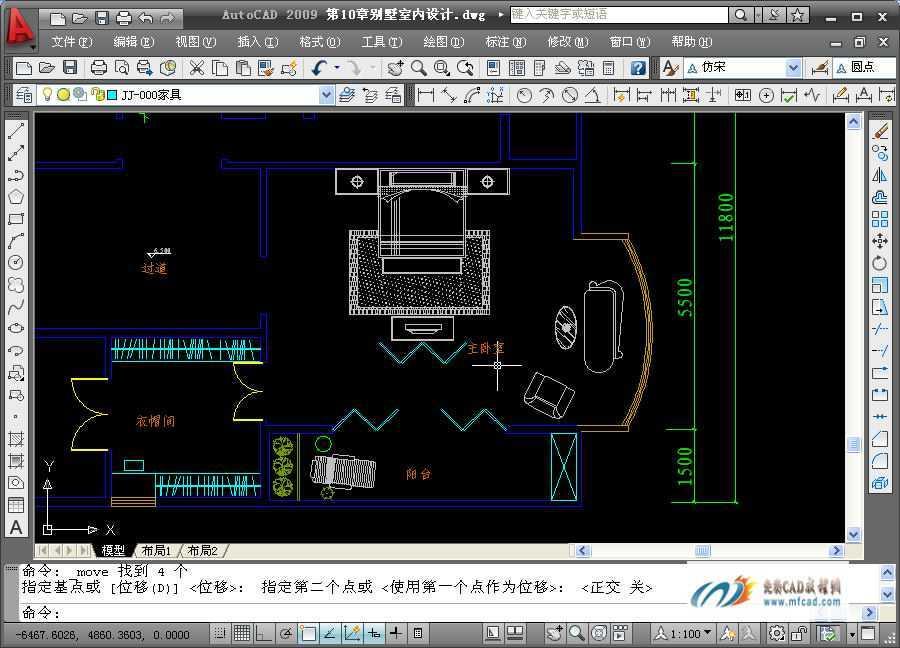 绘制别墅衣帽间 卧室平面布置图免费下载 AutoCAD2009室内装潢设计实例教程