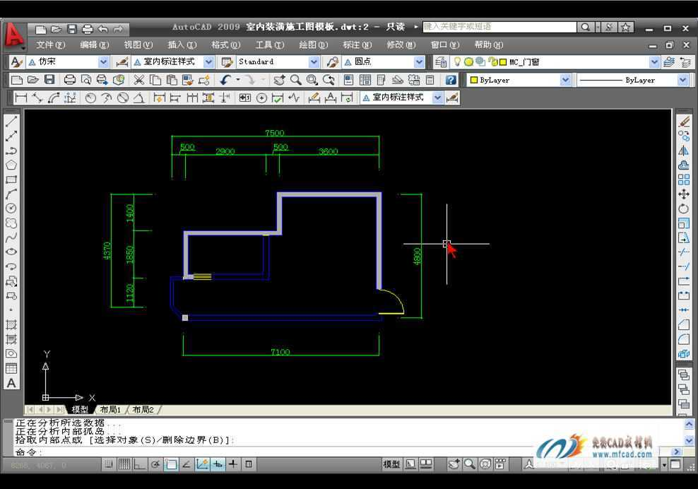 CAD2009绘制客厅A立面图教程