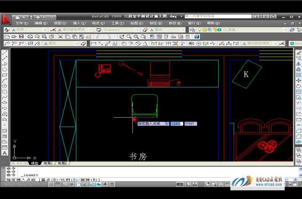 CAD2009绘制书房平面布置图教程