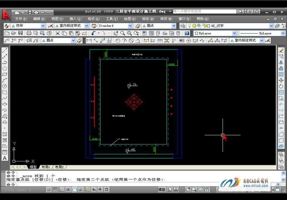 CAD2009绘制客厅顶面布置图教程