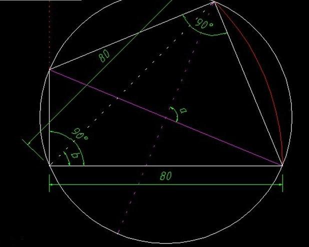 以直线左端点为圆心,80为半径绘制圆