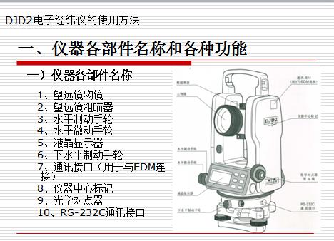 DJD2电子经纬仪的使用方法教学课件