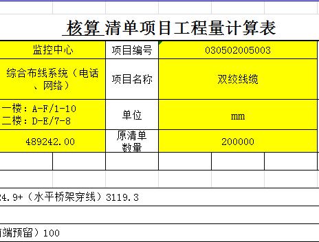 监控线路计量表格