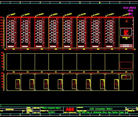 某天然气管道工程电气配电系统图(pdf及cad格式英文版)