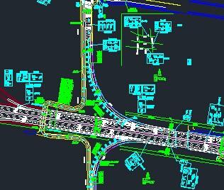 某市政道路交通工程标志标线平面设计图图片