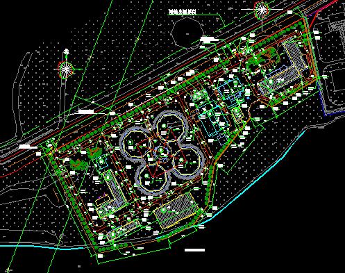 污水处理厂施工图纸(含建筑结构电暖等)