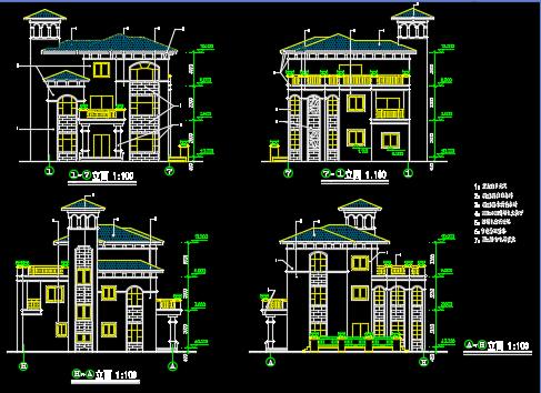 三层别墅建筑设计图纸(含设计说明)