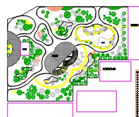 某村小游园公共绿地环境绿化施工图