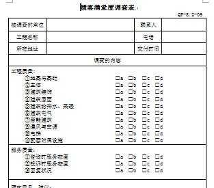 工程项目顾客满意度调查表