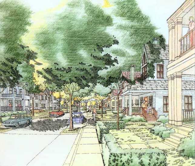 彩色铅笔表现规划方案手绘图免费下载 - 园林景观效果