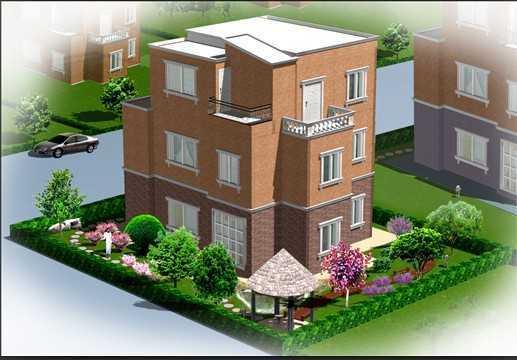 别墅庭院绿化效果图,含CAD绿化布置图免费下载 别墅图纸图片