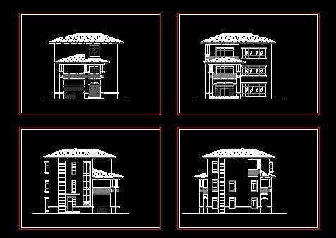 某三层别墅立面设计图