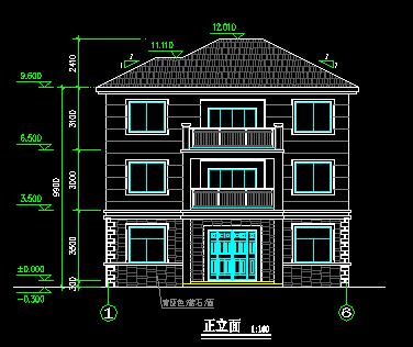 135平方米单家独院式三层别墅设计图
