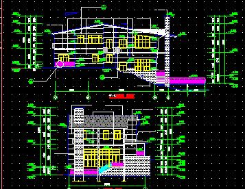 某2层临水别墅建筑施工图免费下载 - 别墅图纸 - 土木
