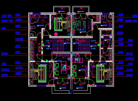 4层联拼别墅平面设计图