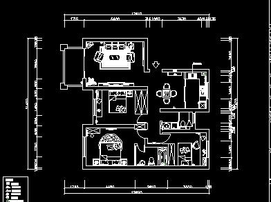 三室一厅住宅装修设计图