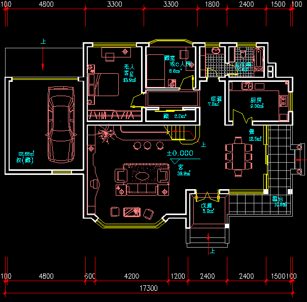 两层独栋别墅建筑设计图纸(带车库)带手绘效果图