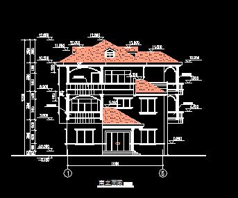 三层别墅建筑设计图(建筑结构)
