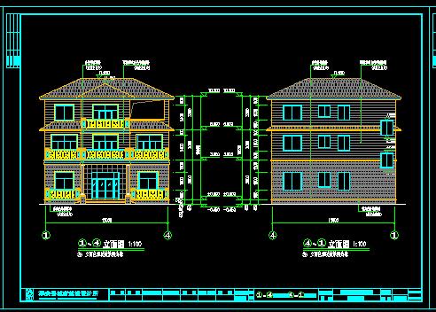 140平方米三层新农村别墅设计图(含建筑结构水电)