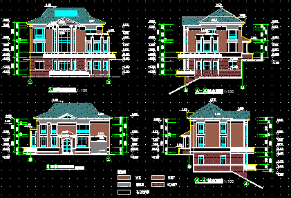 150平方米三层别墅建筑设计图纸