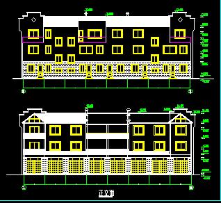 四层别墅建筑设计总图纸