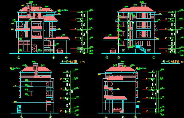 三层现代别墅建筑设计图纸