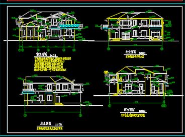 430平米二层别墅建筑施工图纸
