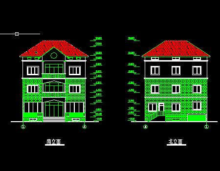 水乡三层小别墅建筑设图纸