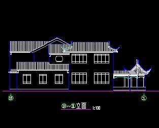 三套两层中式仿古别墅修建施工图图纸