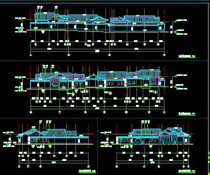 单层联排别墅建筑施工图纸