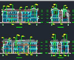 三层异形柱框架结构别墅建筑施工图纸