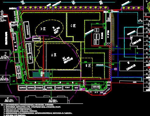 某高层建筑施工现场平面布置图及临设详图
