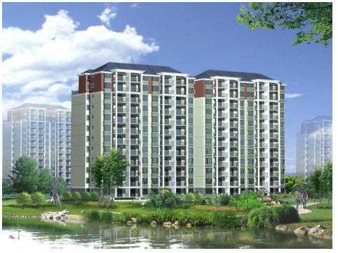 12層小高層住宅樓建筑帶效果圖