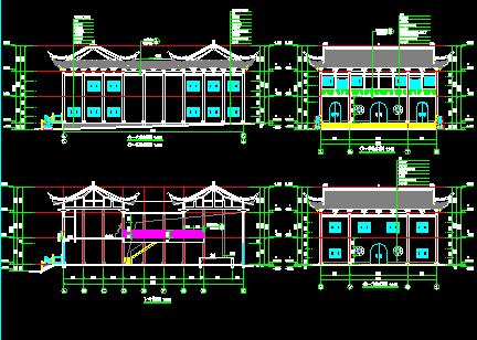 仿古祠堂建筑结构设计图纸免费下载 - 园林古建 - 土木工程网