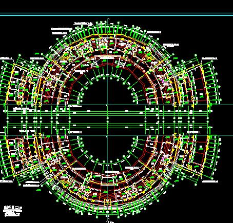 某四层圆形宾馆建筑设计图