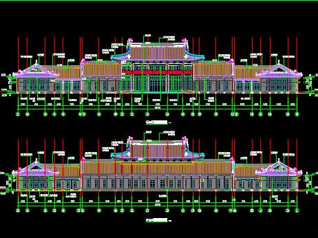 图纸新中式风格单层集散中心建筑施工图纸免费cad打开反应游客怎么解决慢图片