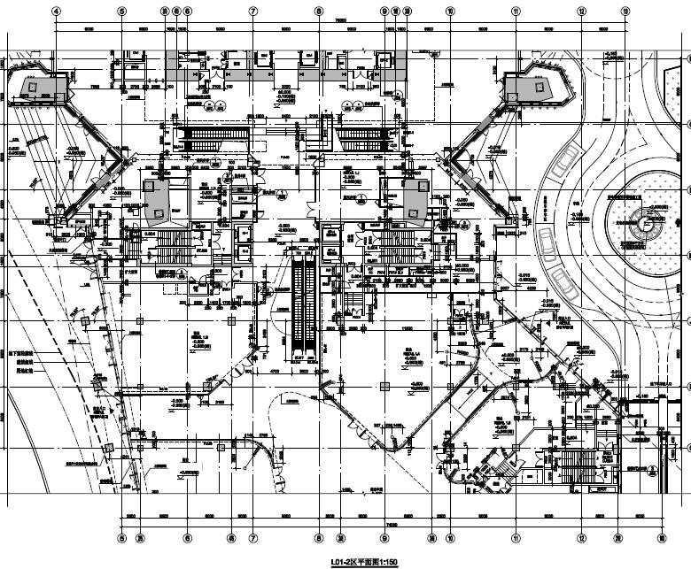 超高层塔楼式商业综合楼建筑施工图纸PDF格式(含人防)