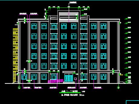 六层框架结构办公楼建筑施工图纸