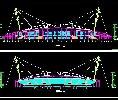 某学校体育场全套施工图纸(含建筑、结构、水电暖)