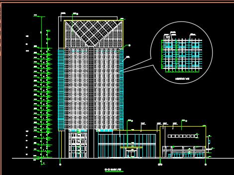 二十一层框架结构办公楼建筑施工图纸