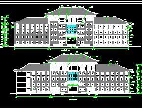某中学四层中式教学楼建筑施工图纸