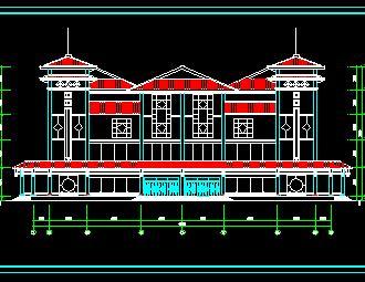 4层中式服务中心建筑施工图纸