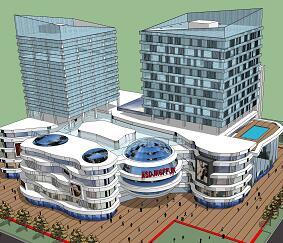 五层酒店建筑平面施工图(含模型)